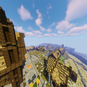 The Golden Hall of Meduseld looking over Edoras