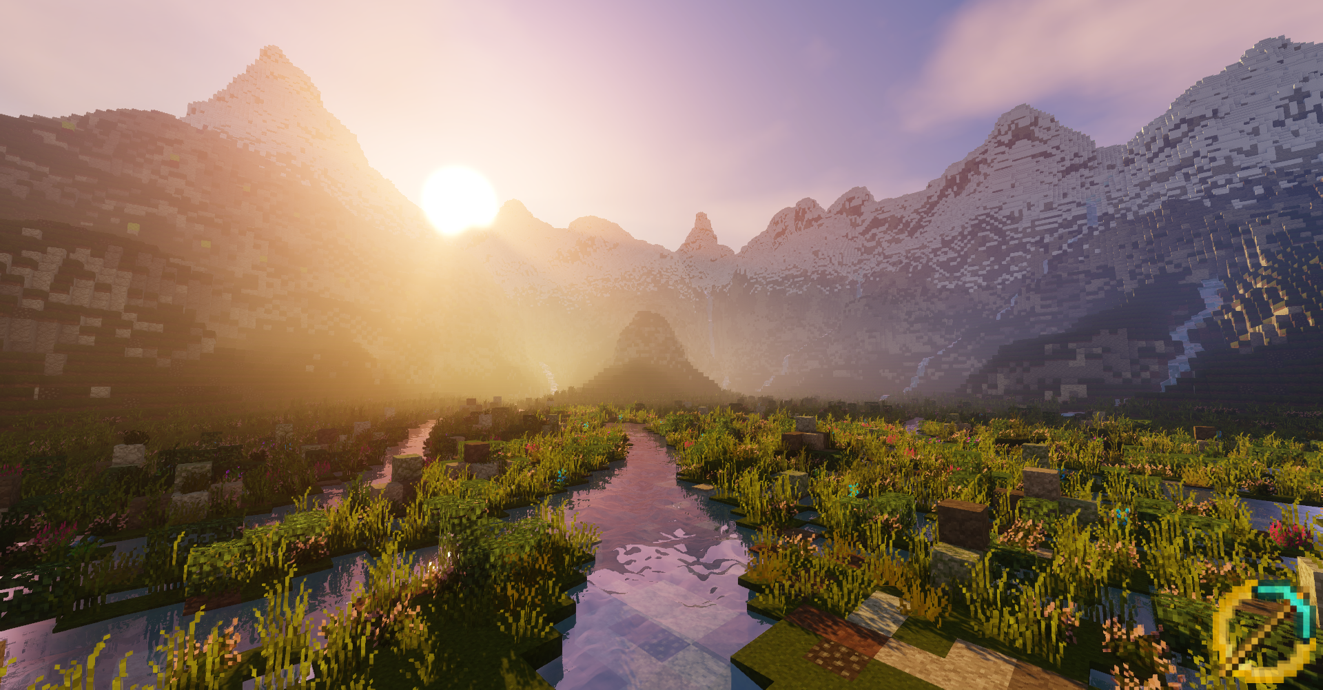 The sun rising above the mointains outside rivendell